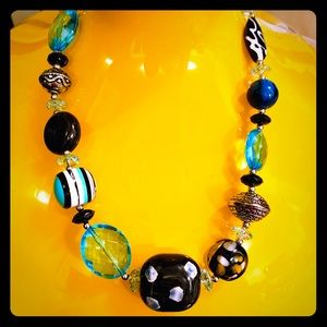"""Chunky blue black art glass necklace 22"""""""